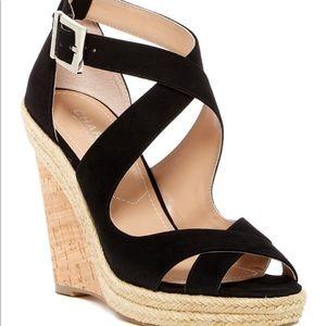 Black suede sandals. NWOT